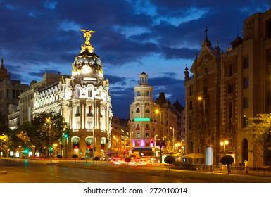 The Crossing  Calle de Alcala and Gran Via in night. Madrid, Spain