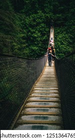 Crossing the Capilano Suspension Bridge, Vancouver, BC, Canada