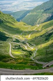 Crossing Carpathian mountains in Romania. Transfagarasan mountain. Transfagarasan highway. Transfagarasan in Romanian Carpathians