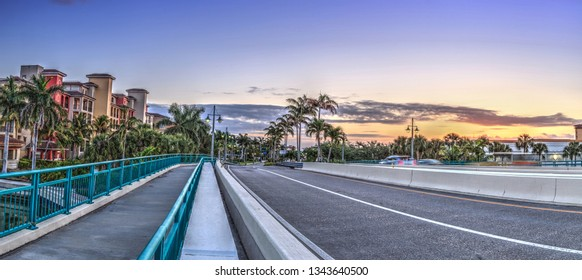 Crossing the Herbert R. Savage Bridge on Collier boulevard Route 951 leading into Marco Island, Florida at sunrise.