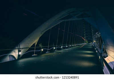 Crossing the Humber Bay bridge in Toronto, Canada - tourist attraction for modern architecture