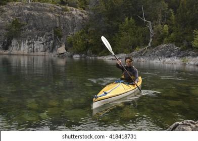 Crossing Kayak Paddling the Lakes of Patagonia, Argentina