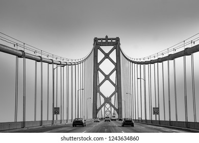crossing the New bay suspension bridge in San Francisco in late afternoon.