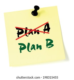 Crossing out Plan A, writing Plan B, Sticky Note Macro Closeup, Large Detailed Thumbtacked Sticker Adhesive Memo