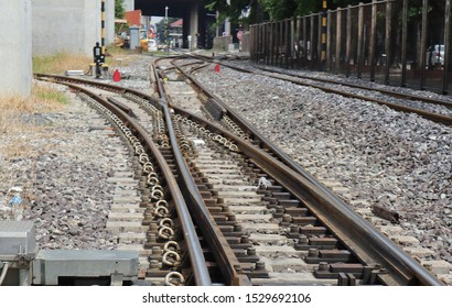 Crossing railway track railway point on tracks soft lens landscape background