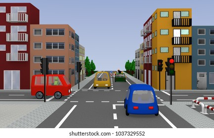 Crossing with red glowing traffic light, colorful cars, houses and construction site. 3d rendering