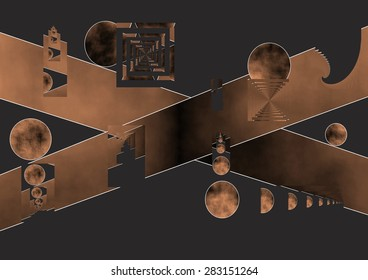 Crossing of roads, allegory, fundamental decision making, disparity of criteria with common interests, cross and line, farewell and closing, until here we have arrived, copper colored gradient spaces,