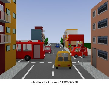 Crossing with stop sign. 3d rendering