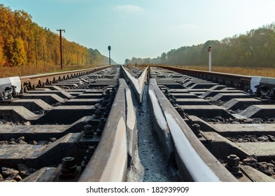 crossing of two railroads close up