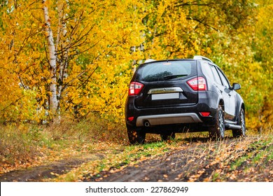 Crossover in front of autumn forest (rear view)