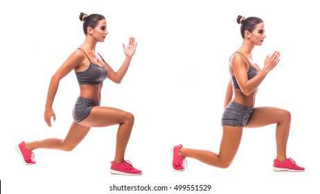 Crossover Reverse Lunge  young woman doing exercise