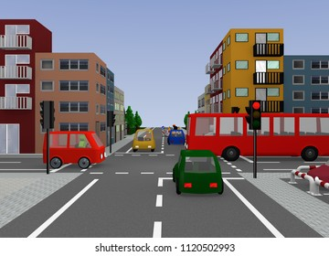 Crossroad with red traffic light. 3d rendering