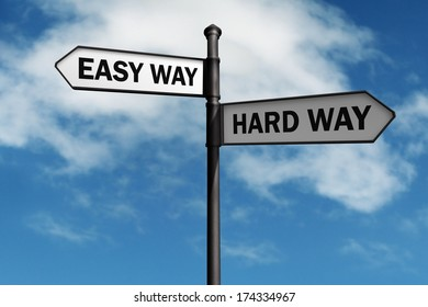 Crossroad signpost saying easy way and hard way concept for choice, confusion or decisions