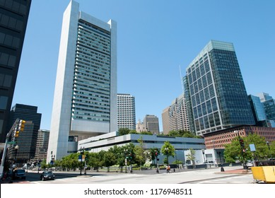 The crossroad of Summer Street and Dorchester Avenue in Boston downtown (Massachusetts).