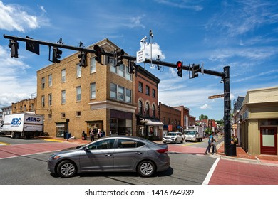 Crossroads in central Leesburg, Virginia, USA on 15 May 2019