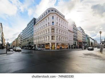 Crossroads shopping streets in Berlin. Germany, Europe.