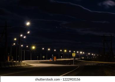 Crosswalk and busstop on a suburb road, Norilsk, September 25, 2018