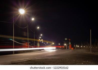 Crosswalk and busstop on a suburb road, Norilsk, September 29, 2018