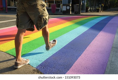 Crosswalk Colors, Gay Pride, Vancouver. Vancouver�s first permanently rainbow colored crosswalk at the intersection of Davie and Bute in downtown Vancouver, British Columbia, Canada.