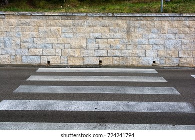 Crosswalk with Dead End at Stone Wall