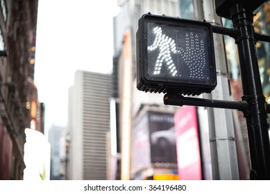 Crosswalk ok sign on a Manhattan Traffic Light - New York City.
