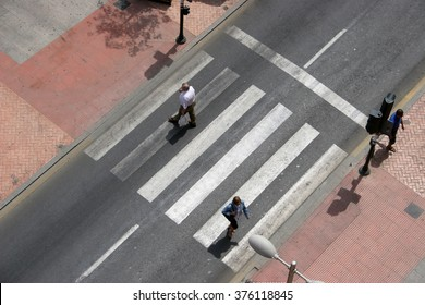 crosswalk with several people