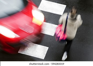 crosswalk of street city with people in dangerous situation