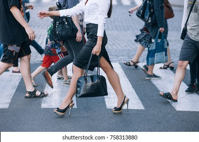 crosswalk urban lifestyle city rush hour crowd concept