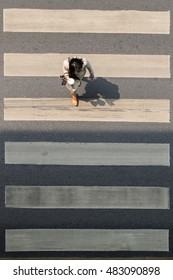 Crosswalk or Zebra crossing in Bangkok city. Bangkok is the capital and the most populous city of Thailand.