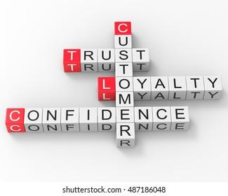Crossword Customer Trust Loyalty Confidence 3d Render