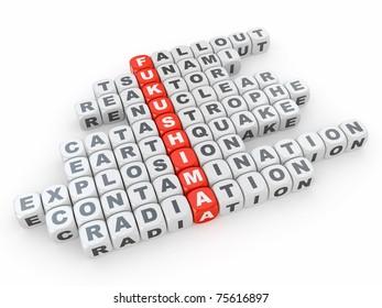 Crossword Fukushima from blocks on white isolated background. 3d