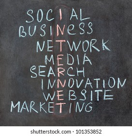 Crossword made of words: social, business, network, media, search, innovation, website, marketing, internet