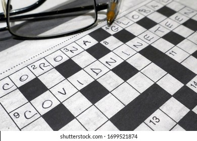 Crossword puzzle with Covid 19 Corona and global included