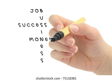 crossword puzzle with positive business words - job, success, money, business