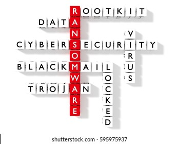 Crossword puzzle showing ransomware keywords as dice on a white board cybersecurity concept flat design 3D illustration