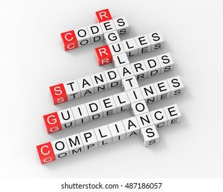 Crossword Regulations Rules Guidelines 3d Render
