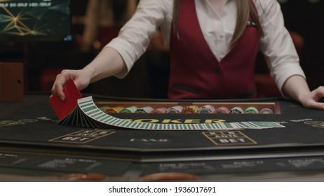 Croupier gambling table in casino
