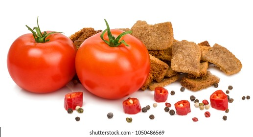 croutons with peper and tomato isolated on white background.