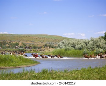 CROW AGENCY, MONTANA/USA - JUNE 27: Reenactment 7th Cavalry soldiers and American Indians of Battle of the Little Bighorn known as Custer's Last Stand shown on June 27, 2009 in Crow Agency, Montana