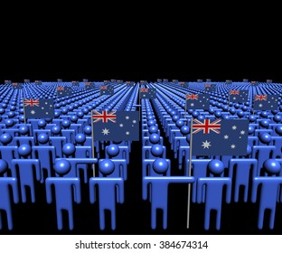 Crowd of abstract people with many Australian flags illustration