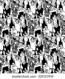 Crowd of active happy people black and white seamless pattern illustration. Vector illustration. EPS 8