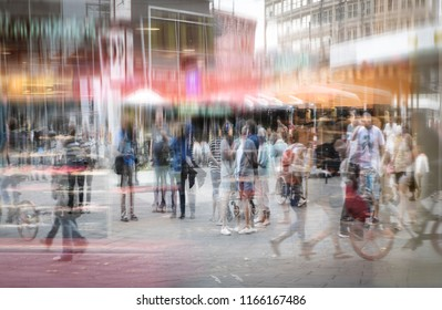 Crowd of anonymous people at a shopping mall in the big city, abstract double exposure