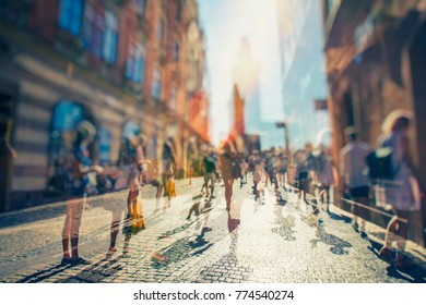 Crowd of anonymous people walking, artistic view of city people
