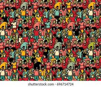 Crowd big group people seamless pattern. Color illustration.