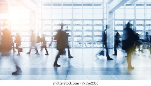 crowd of Blurred business people at a expo