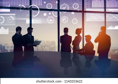Crowd of businesspeople in abstract blue interior with digital interface. Meeting and success concept. Double exposure