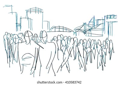 crowd in city ink sketch on white paper