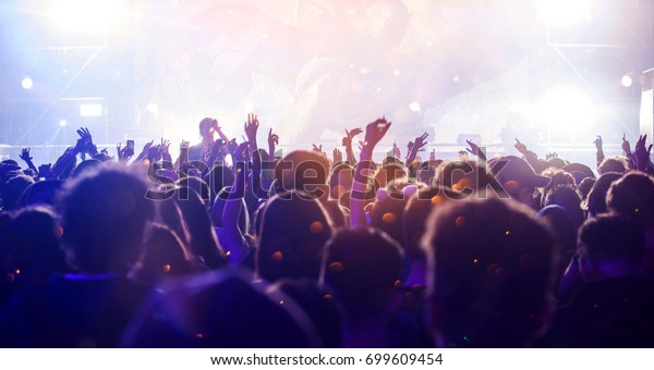 Kräwd auf Konzert - jubelnde Menge vor hellbbunten Bühnenleuchten