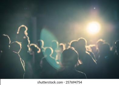crowd at a concert in a moody light noise added