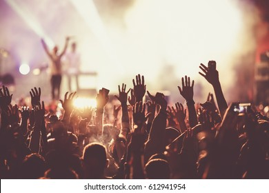 crowd at concert - summer music festival - Shutterstock ID 612941954